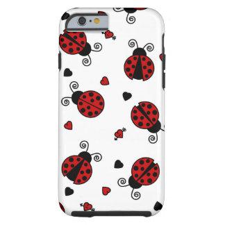 Teste padrão bonito do joaninha e dos corações capa para iPhone 6 tough