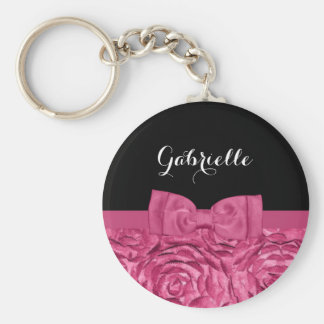 Teste padrão bonito do rosa do rosa e do preto do chaveiro