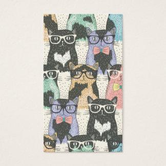 Teste padrão bonito dos gatos do hipster cartão de visita