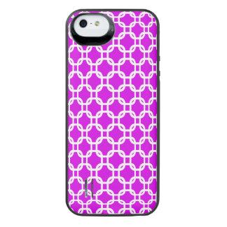 Teste padrão branco cor-de-rosa da treliça do capa carregador para iPhone SE/5/5s