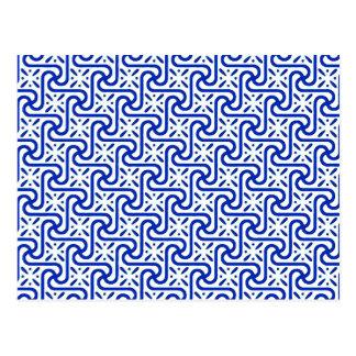 Teste padrão, branco e azuis cobaltos egípcios do cartão postal