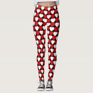 Teste padrão branco e preto vermelho do coração leggings