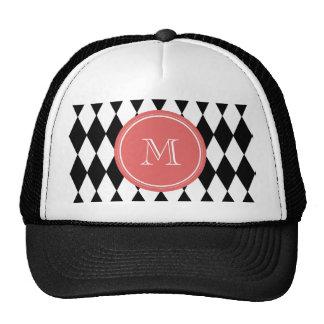 Teste padrão branco preto do Harlequin, monograma Boné