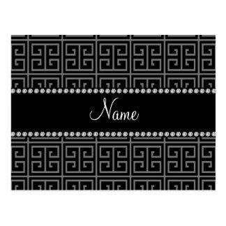 Teste padrão chave grego preto conhecido personali cartão postal