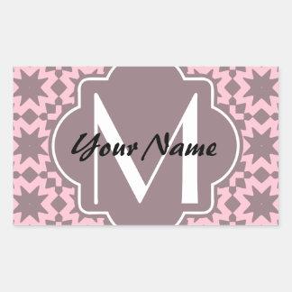 Teste padrão chique à moda Monogrammed do rosa Adesivo Retangular