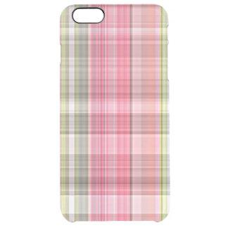 Teste padrão chique retro verde branco cor-de-rosa capa para iPhone 6 plus transparente