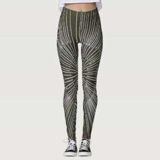 Teste padrão circular no preto, caneleiras dos legging