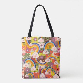 Teste padrão colorido bonito da ilustração do bolsa tote