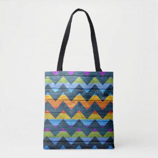 Teste padrão colorido de madeira moderno #11 de bolsas tote