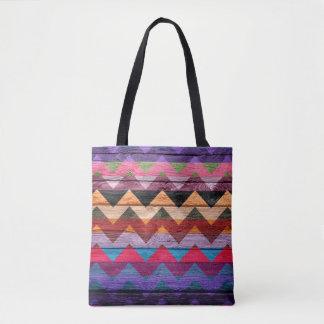 Teste padrão colorido de madeira moderno #21 de bolsas tote