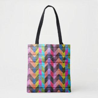 Teste padrão colorido de madeira moderno #28 de bolsas tote