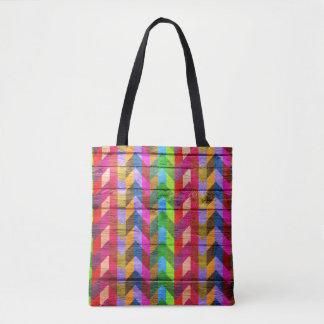 Teste padrão colorido de madeira moderno #32 de bolsas tote