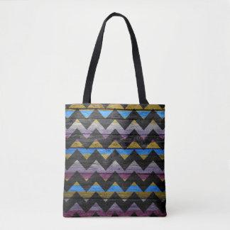 Teste padrão colorido de madeira moderno #39 de bolsas tote