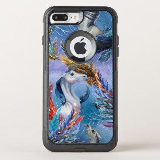 Teste padrão colorido de Pegasus & de penas Capa iPhone 7 Plus Commuter OtterBox