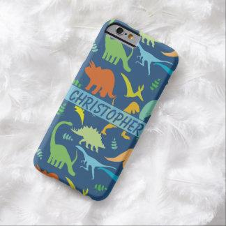 Teste padrão colorido do dinossauro a personalizar capa barely there para iPhone 6