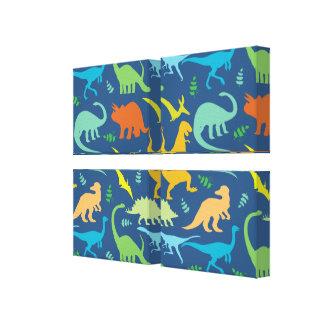 Teste padrão colorido do dinossauro impressão de canvas envolvida