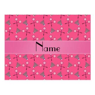 Teste padrão cor-de-rosa conhecido personalizado d cartoes postais