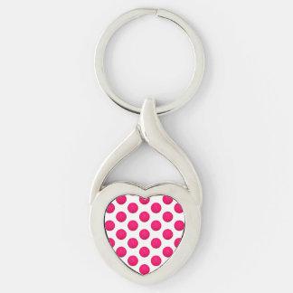 Teste padrão cor-de-rosa do basquetebol chaveiro coração torcido cor prata