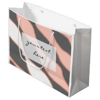 teste padrão cor-de-rosa do brilho do ouro do sacola para presentes grande
