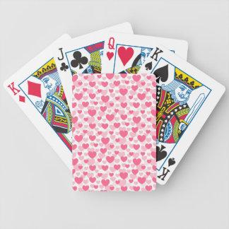 Teste padrão cor-de-rosa do coração baralhos para pôquer