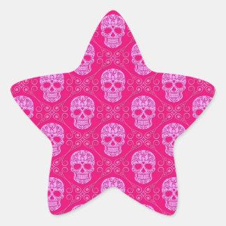 Teste padrão cor-de-rosa do crânio do açúcar adesito estrela