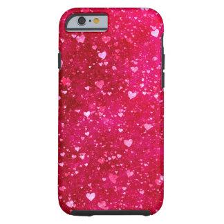 Teste padrão cor-de-rosa dos corações do brilho capa para iPhone 6 tough