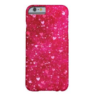 Teste padrão cor-de-rosa dos corações do brilho capa barely there para iPhone 6