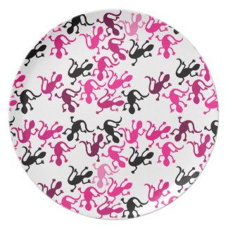 Teste padrão cor-de-rosa dos lagartos pratos de festas