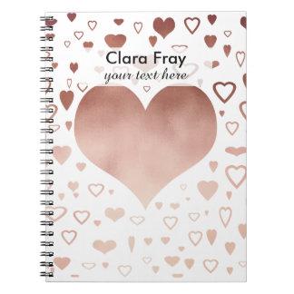 teste padrão cor-de-rosa moderno elegante dos caderno espiral