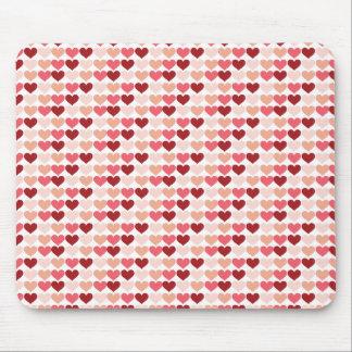 Teste padrão cor-de-rosa vermelho dos corações do  mousepads