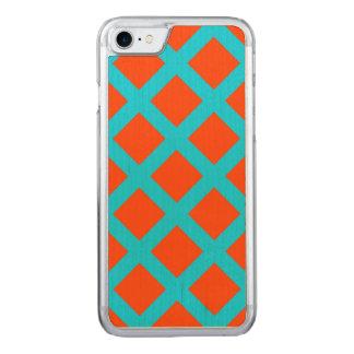 Teste padrão corajoso dos quadrados do azul da capa iPhone 7 carved