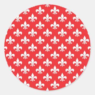 Teste padrão da flor de lis no vermelho adesivo