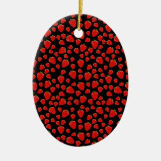 Teste padrão da morango ornamento de cerâmica oval
