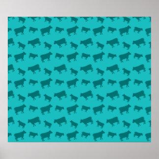 Teste padrão da vaca de turquesa posters