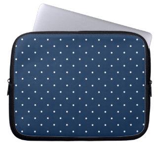 teste padrão de bolinhas branco dos azuis marinhos capa para laptop