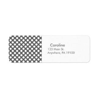 Teste padrão de bolinhas do branco cinzento de etiqueta endereço de retorno