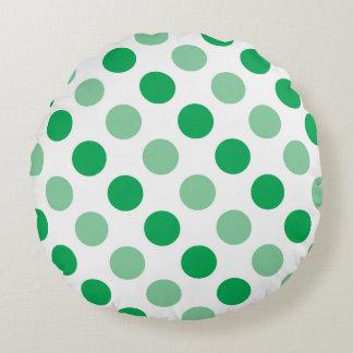 Teste padrão de bolinhas verde almofada redonda