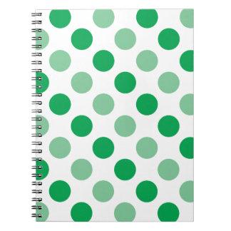 Teste padrão de bolinhas verde cadernos