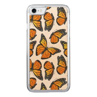 Teste padrão de borboleta do monarca capa para iPhone 7 carved