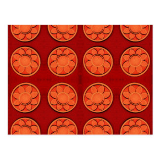 teste padrão de flor alaranjado cartão postal