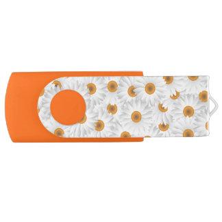 Teste padrão de flor branco da camomila pen drive giratório