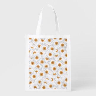 Teste padrão de flor branco da camomila sacola ecológica