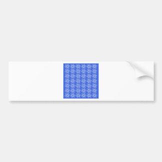 Teste padrão de flor encaracolado - branco em azui adesivo