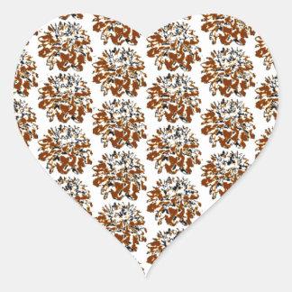 Teste padrão de flor floral da dália de Brown Adesivo Coração