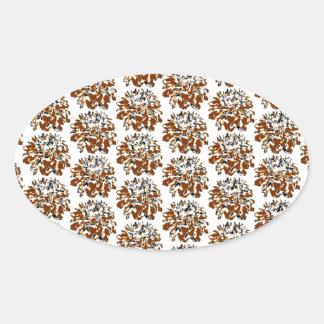 Teste padrão de flor floral da dália de Brown Adesivo Oval