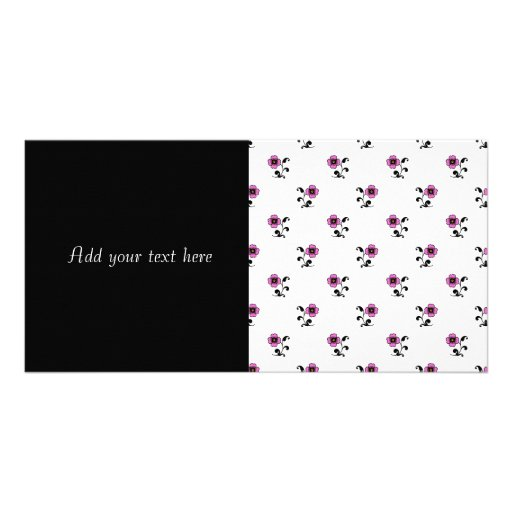 Teste padrão de flores cor-de-rosa doce cartao com foto