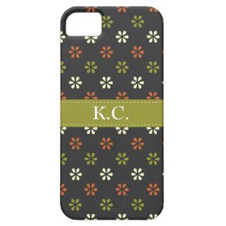 Teste padrão de flores da modificação do monograma capas de iPhone 5 Case-Mate