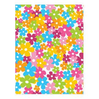 Teste padrão de flores feminino bonito do cartão postal