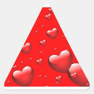 Teste padrão de flutuação dos corações adesivos triângulo