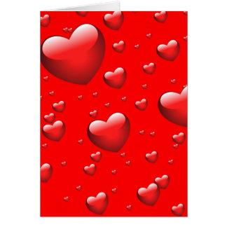 Teste padrão de flutuação dos corações cartão comemorativo